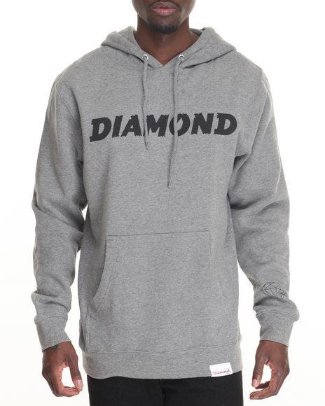 Diamond Supply Co Men Painted Hoodie Grey Large