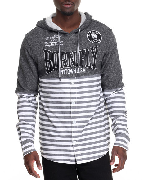 Born Fly - Men Grey Greentree Button-Down Hoodie