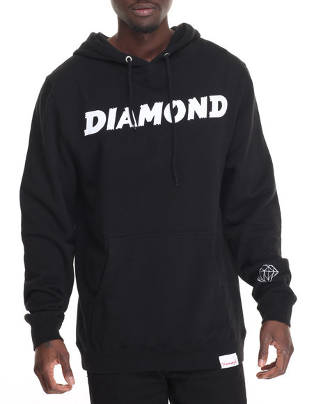 Diamond Supply Co Men Painted Hoodie Black Medium