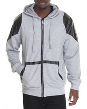 Men - French Terry Full-Zip Hoodie w/ Faux Leather Trim