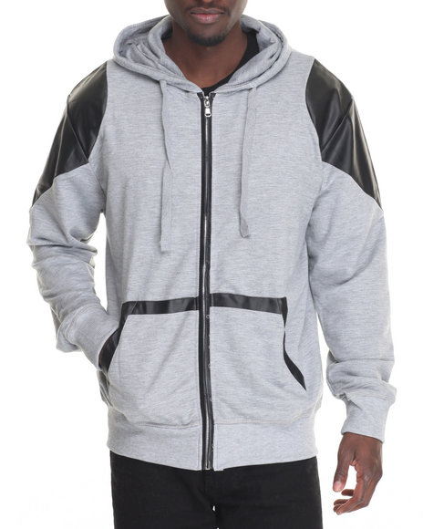 Basic Essentials - Men Grey French Terry Full-Zip Hoodie W/ Faux Leather Trim