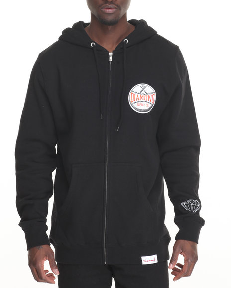 Diamond Supply Co Men Grand Slam Zip Hoodie Black Large