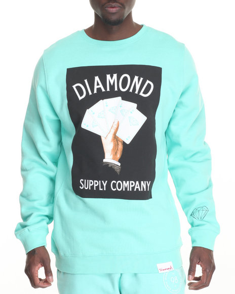 Diamond Supply Co - Men Teal Royal Flush Crewneck Sweatshirt