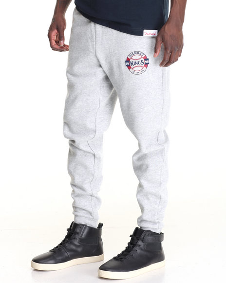 Diamond Supply Co Men Kings Crest Sweatpants Light Grey XX-Large