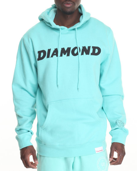 Diamond Supply Co Men Painted Hoodie Teal X-Large