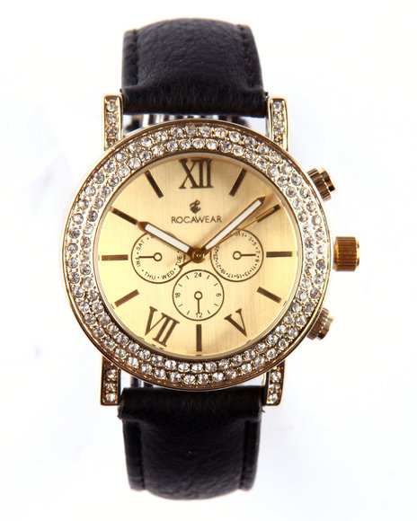 Rocawear Women Round Bling Face Leather Band Watch Gold