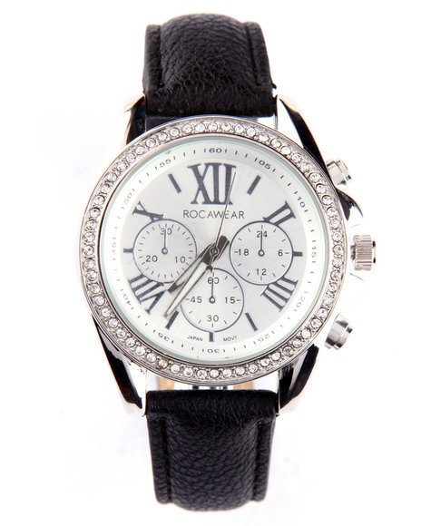 Rocawear Women Bling Face Leather Band Watch Black
