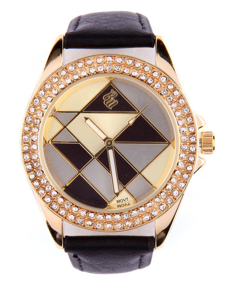 Rocawear Women Artistic Way Bling Face Leather Band Watch Black