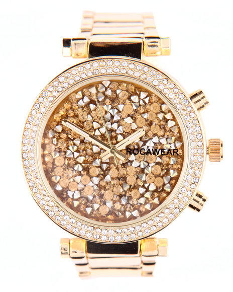 Rocawear Women Bling World Metal Band Watch Gold