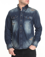 Men - Sand Blue Denim Jacket W/ Buffalo Check Patch