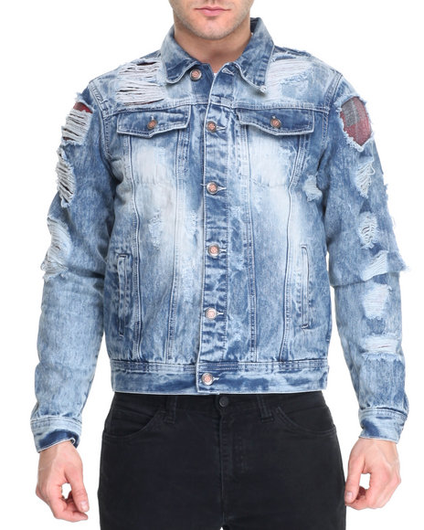 Buyers Picks - Men Medium Wash Rip - And - Repair Flannel - Lined Denim Jacket