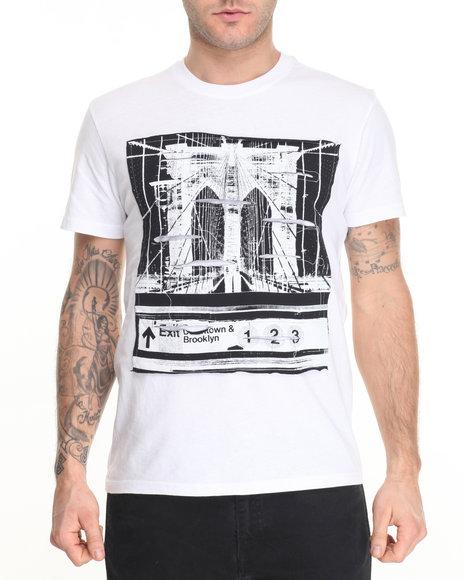 Buyers Picks - Men White Brooklyn Bridge Rip - Graphic S/S Tee - $28.00
