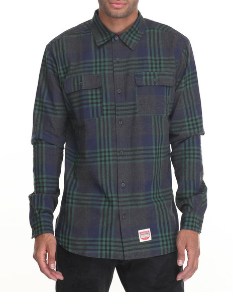 Diamond Supply Co - Men Green Diamond Plaid Flannel L/S Button-Down - $80.00