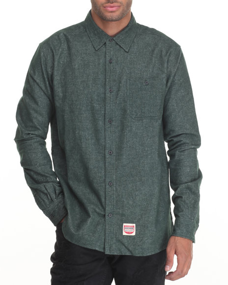 Diamond Supply Co - Men Green Union L/S Button-Down - $80.00