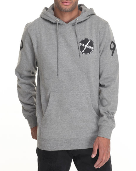 Diamond Supply Co Men Lightning Hoodie Grey Medium
