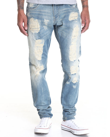 Buyers Picks - Men Light Wash Vintage Rip - And Repair Denim Jeans