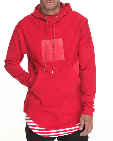 Vie + Riche - Men Red Multi - Paneled Mixed - Media Pullover Hoodie