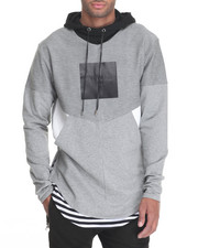 Men - Multi - Paneled Mixed - Media Pullover Hoodie