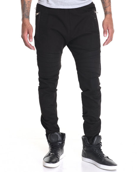 Vie + Riche - Men Black Future - Moto Twill Pants