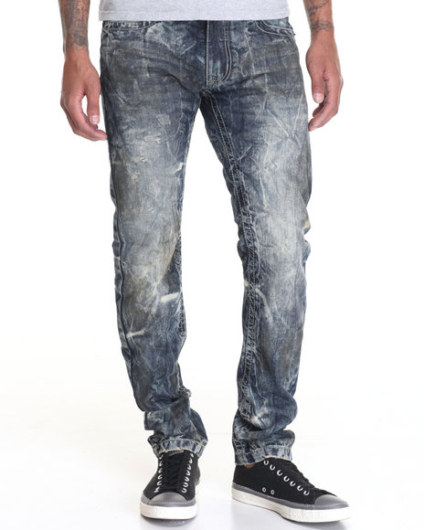 Buyers Picks - Men Medium Wash Dirt Tint Vinatge Wash Denim Jeans