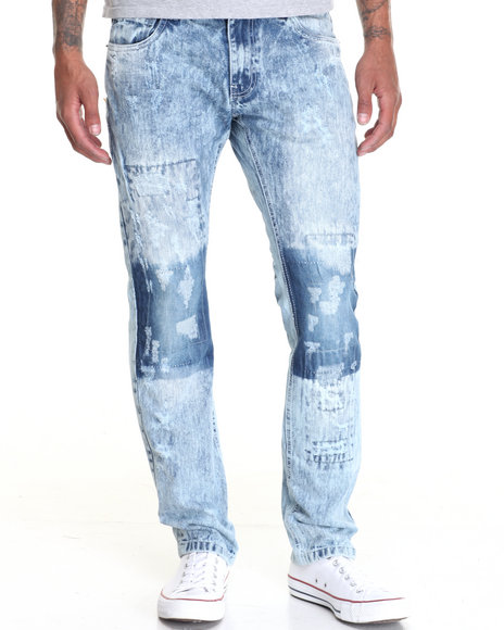Buyers Picks - Men Medium Wash Rip - And - Repair Light Wash Denim Jeans