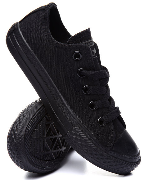 Converse - Boys Black Chuck Taylor All Star Monochrome Ox (11-3)