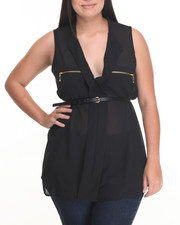 Fashion Tops - Zip Trim Belted Georgette Sleeveless Top (Plus)