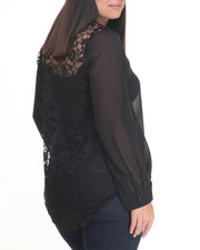 Fashion Tops - Lace Back Long Sleeve Georgette Top (Plus)