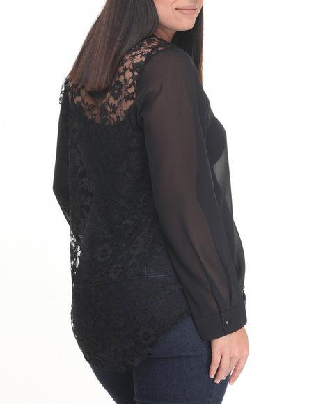 Cotton Express - Women Black Lace Back Long Sleeve Georgette Top (Plus) - $19.99