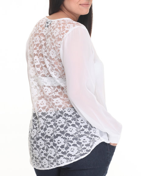 Cotton Express - Women White Lace Back Long Sleeve Georgette Top (Plus)