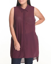 Plus Size - Button Down Open Sides Georgette Tunic (Plus)