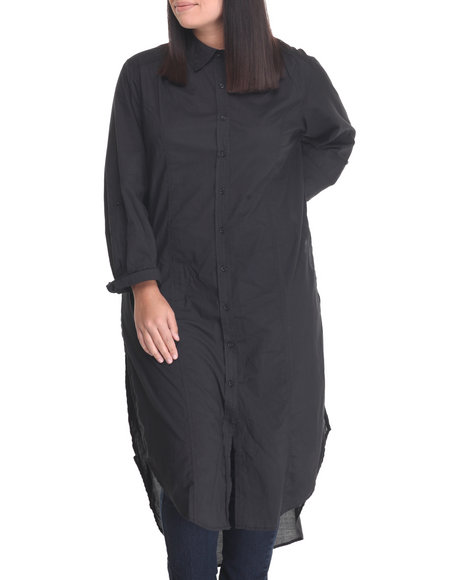 Cotton Express - Women Black Cotton Roll Sleeve Tunic Duster (Plus)