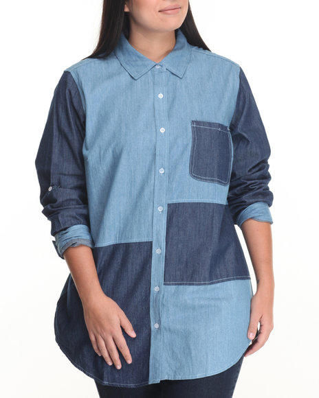 Cotton Express - Women Medium Wash Denim Patchwork Tunic Shirt (Plus) - $20.99