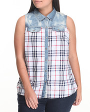 Women - Acid Wash Denim Trim Plaid Sleeveless Shirt (Plus)