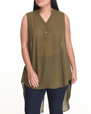 Fashion Tops - Flyaway Back Sleeveless Georgette Tunic (Plus)