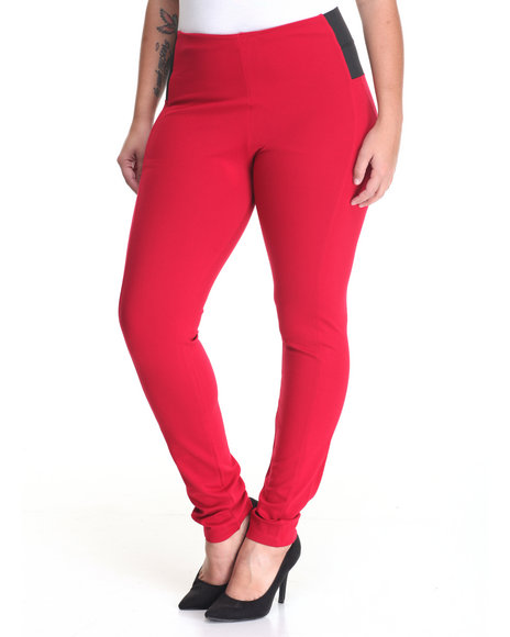 Shinestar - Women Red Pull-On Elastic Sides Pant