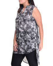 Fashion Tops - Mandarin Collar Paisley Printed Woven Tunic Top (Plus)