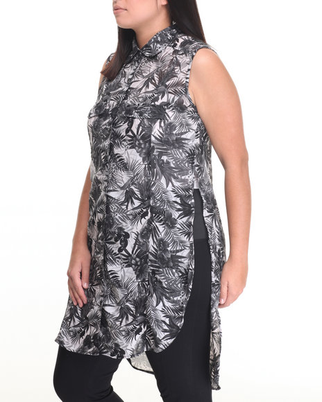She's Cool - Women Black,White Floral Print Roll Sleeve Tunic Shirt (Plus)