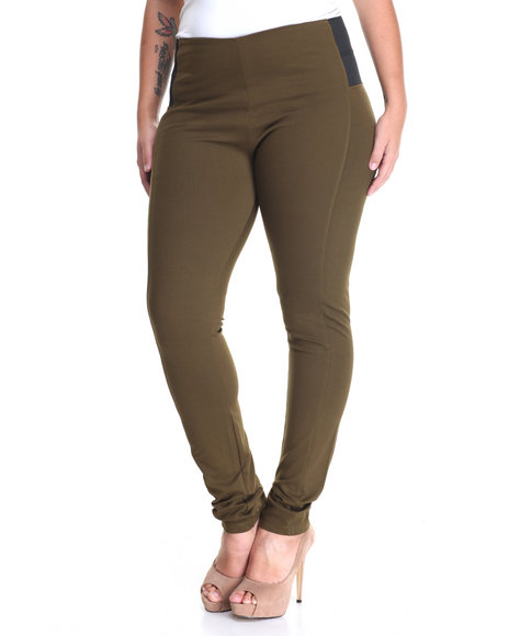 Shinestar - Women Olive Pull-On Elastic Sides Pant