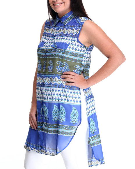 She's Cool - Women Blue Paisley Printed Woven Tunic Top (Plus)