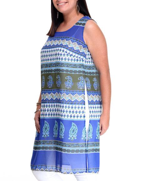 She's Cool Women Paisley Print Woven Tunic Top (Plus) Blue 2X