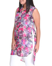 Fashion Tops - Tropical Print Woven Tunic Top (Plus)