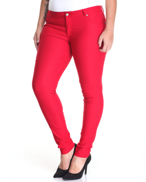 Shinestar - Women Red Second Skin Constructed 5 Pocket Skinny Pant (Plus)