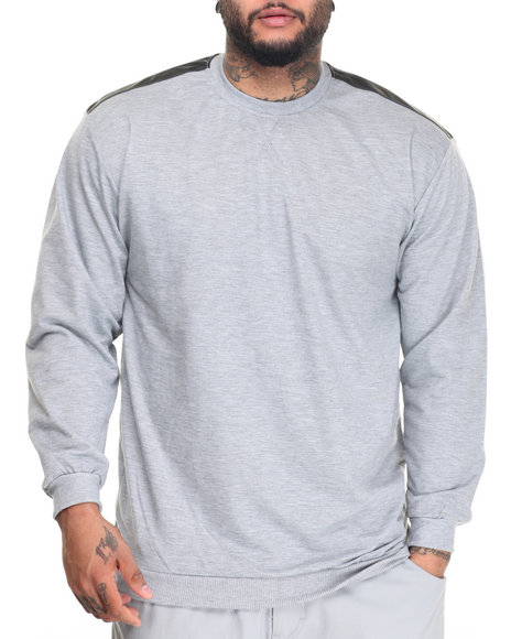 Basic Essentials - Men Black,Grey L/S French Terry Crew Neck Pullover W/ Faux Leather Trim (B+T)