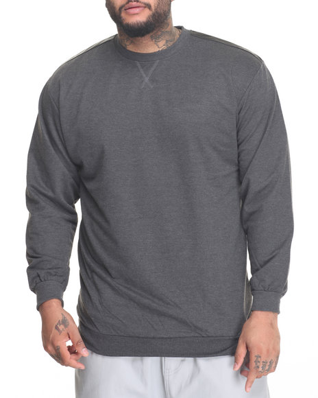 Basic Essentials - Men Charcoal L/S French Terry Crew Neck Pullover W/ Faux Leather Trim (B+T)