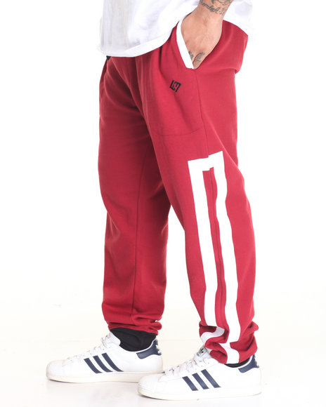 Enyce - Men Red Solid Strip Jogger - $32.00