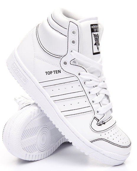 Adidas Boys Top Ten Hi J Sneakers (3.57) White 6 Youth