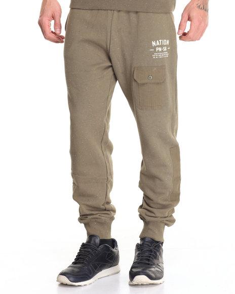 Parish - Men Green Colorblock Sweatpants