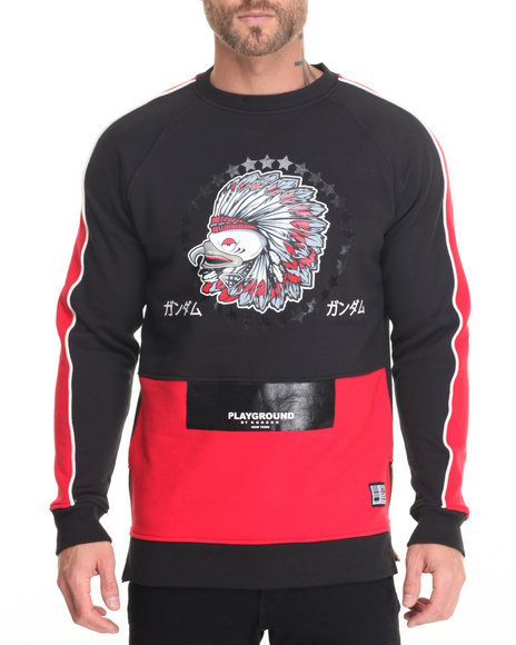 Koodoo - Men Black Playground-Indian Eagle Gang Long Body Length Sweatshirt