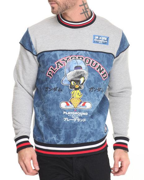 Koodoo - Men Grey,Raw Wash Playground-Bird In Ski Mask Sweatshirt